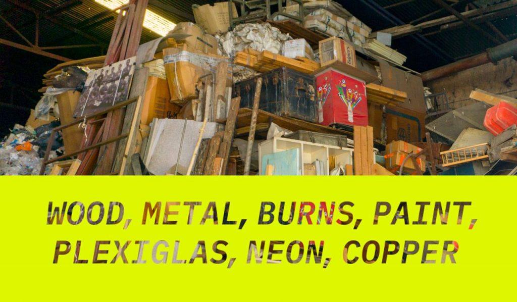Wood Metal Burns Paint Plexiglas Neon Copper Ausstellung