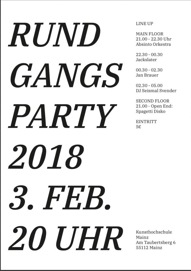 Rundgang 2018, Rundgangs Party 2018
