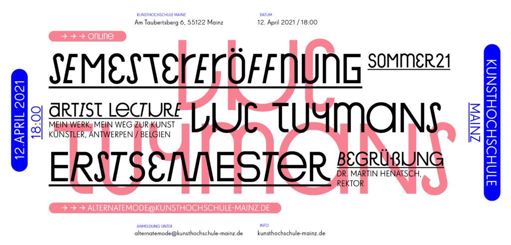 Semestereröffnung Sommersemester 21 / Artist Lecture Luc Tuymans