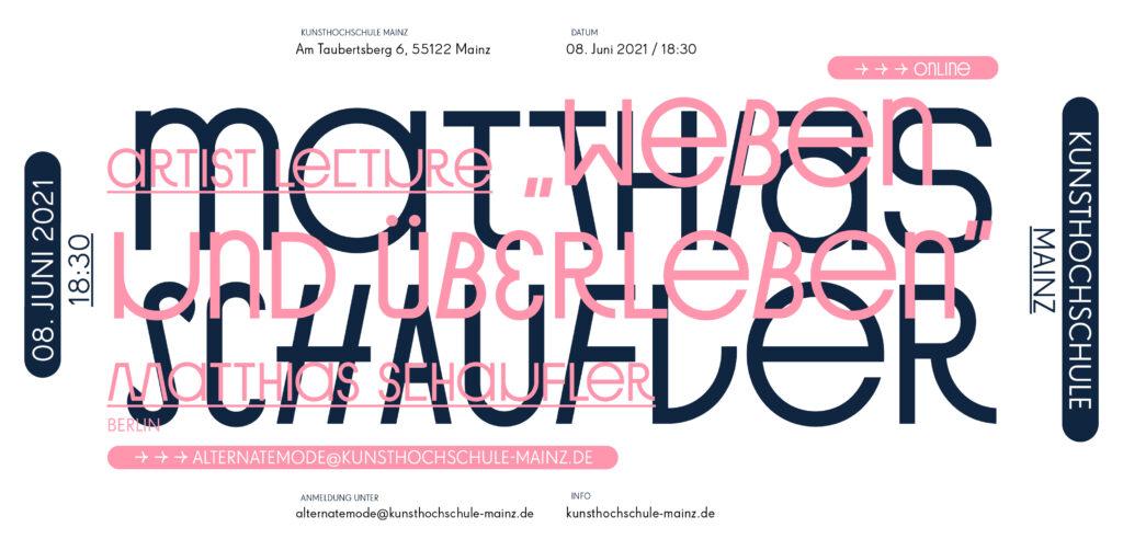 Vortragsreihe Sommersemester 21, Matthias Schaufler / Berlin