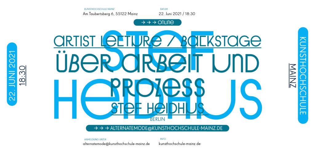 Vortragsreihe Sommersemester 21, Stef Heidhus / Berlin