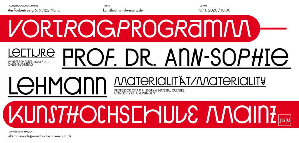 Vortragsreihe Wintersemester 20/21, PROF. DR. ANN-SOPHIE LEHMANN