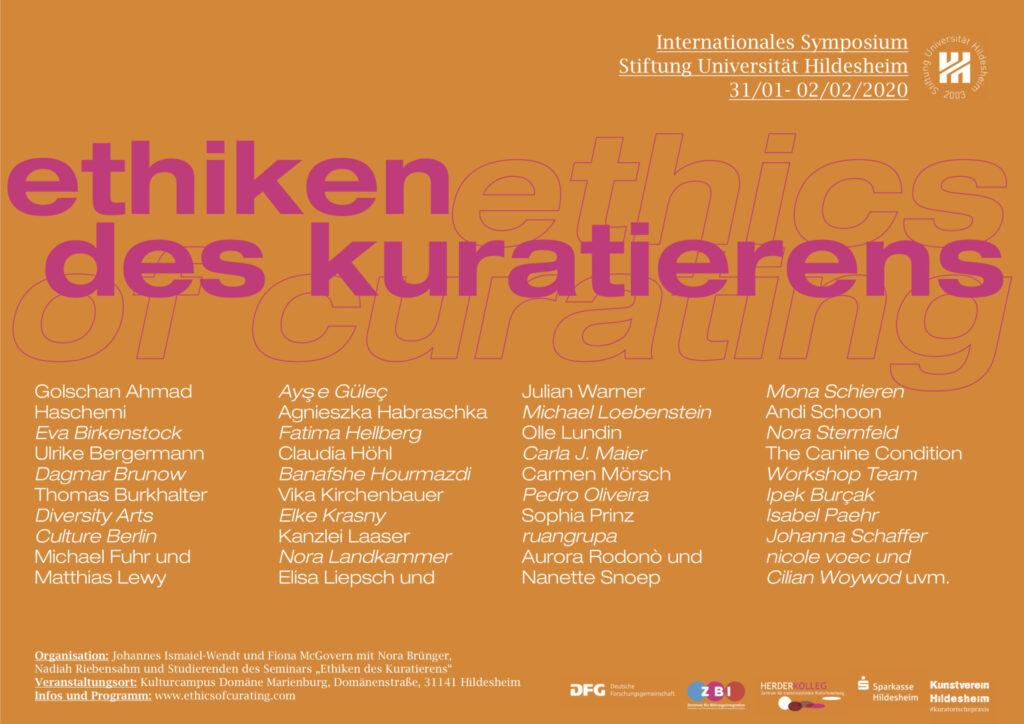 Ethiken des Kuratierens, Internationales Symposium, Stiftung Universität Hildesheim